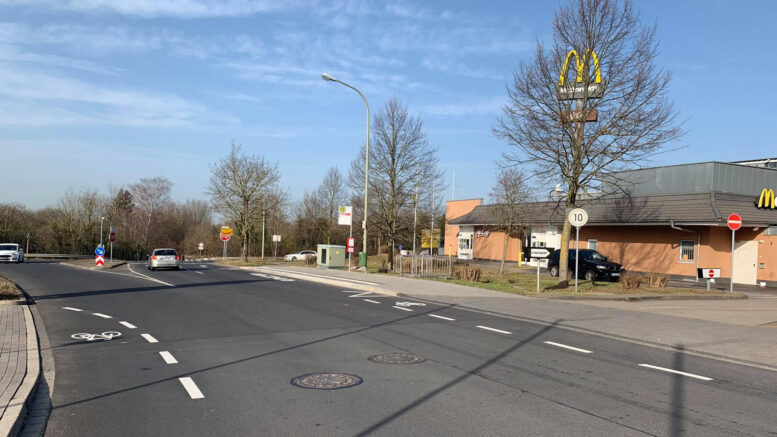 Fahrradstreifen auf der Rudolf-Diesel-Straße